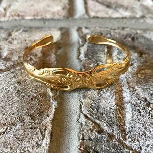 Ornate Gold Oneida Spoon Cuff Bracelet